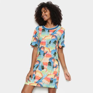 Vestido T-Shirt Farm Curto Tucanos Pintados