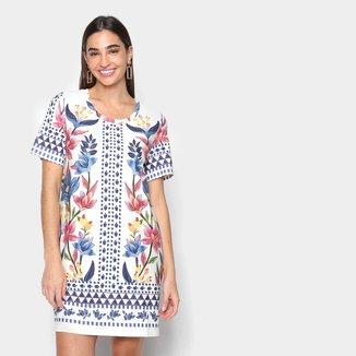 Vestido T-Shirt Farm Floral Padang Lenço Feminino
