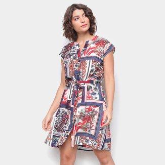 Vestido Top Moda Curto Com Bolsos E Botões Floral