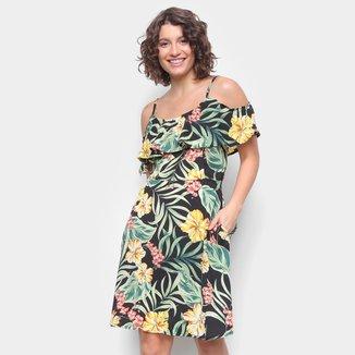 Vestido Top Moda Evasê Babado Floral
