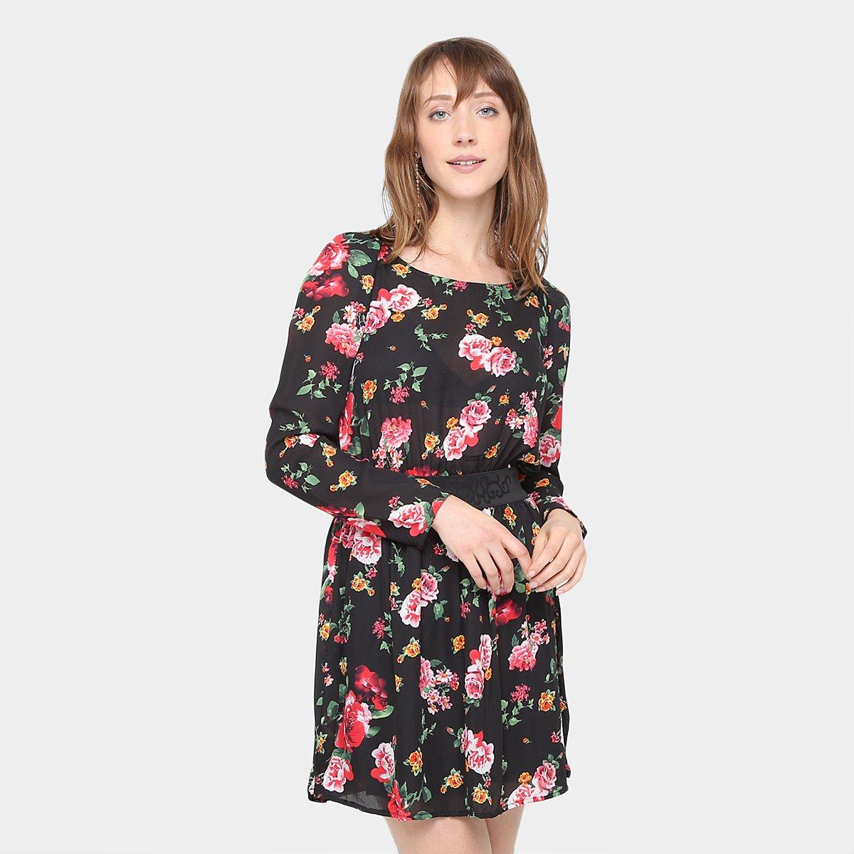 a3595d8a20 Vestido Top Moda Evasê Curto Manga Longa Floral - Compre Agora