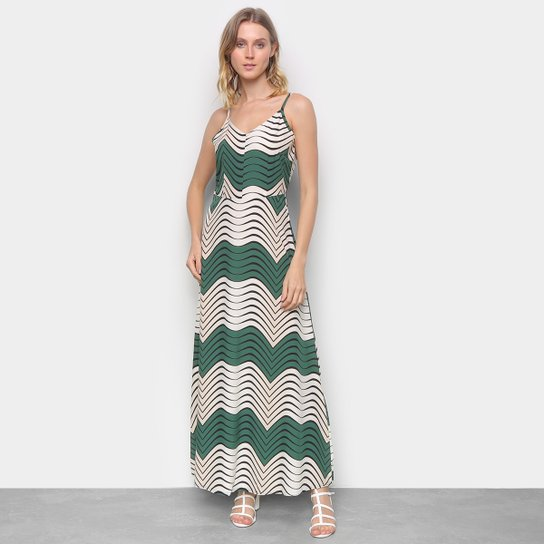 Vestido Top Moda Evasê Longo Estampado - Verde