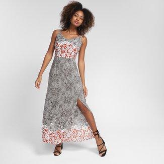 Vestido Top Moda Longo Alça Onça Flor