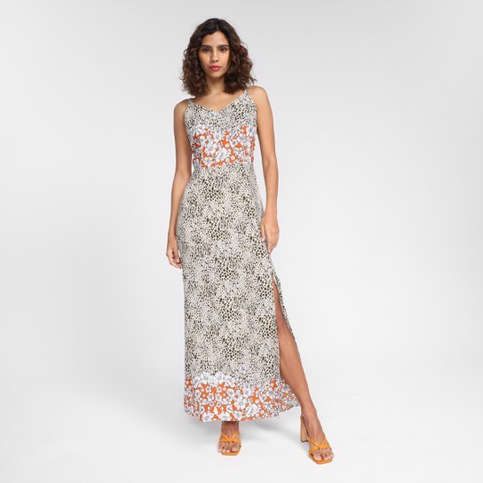 Vestido Top Moda Longo Alça Onça Flor - Bege+Laranja