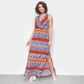 Vestido Top Moda Longo Com Fenda Geométrico