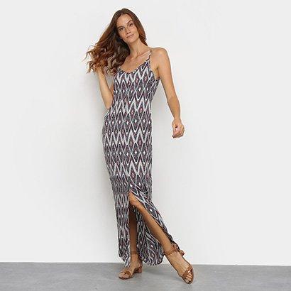 Vestido Top Moda Longo Geométrico Fenda