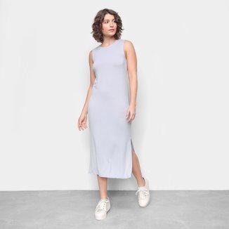 Vestido Top Moda Midi Liso Feminino