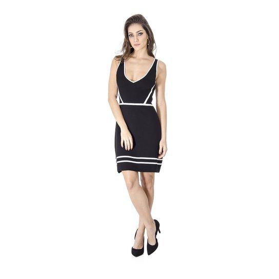 Vestido Tricot Bicolor Calvin Klein - Preto