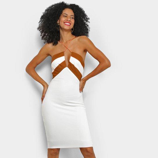 Vestido Tubinho Acostamento Recorte - Off White