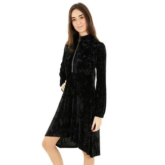 Vestido Veludo Texturizado Assimétrico Com Gola Alta E Manga Longa   Feminino