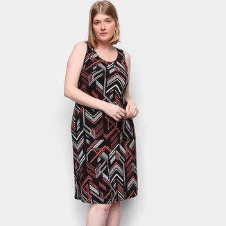 Vestido Wee! Plus Size Midi Estampa Geométrica
