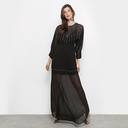 Vestidos Colcci Longo Transparência Bordado