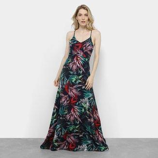 Vestidos Lemise Evasê Longo Alça Trançada Feminino