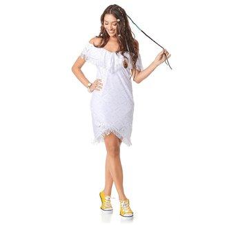 Yacamim Vestido Ciganinha Curto Justo Transpassado Branco Yacamim M