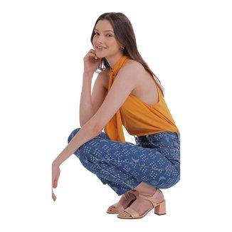 Zinco Calça Zinco Mom Cós Alto Com Laser Jeans