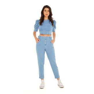 Zinco Calça Zinco Mom Cós Alto Com Pence Jeans