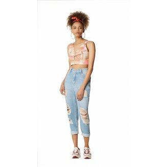 Zinco Calça Zinco Mom Cós Alto Com Puídos Jeans