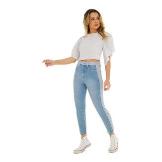 Zinco Calça Zinco Mom Cós Alto Com Termocolante Jeans
