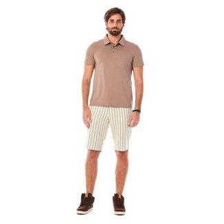 Zinco Camiseta Zinco Polo Slim Gola Em Y Com Botão Marrom