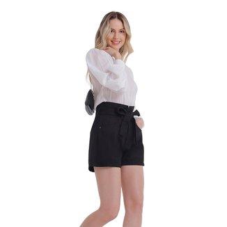 Zinco Shorts Zinco Linha A Com Faixa Preto